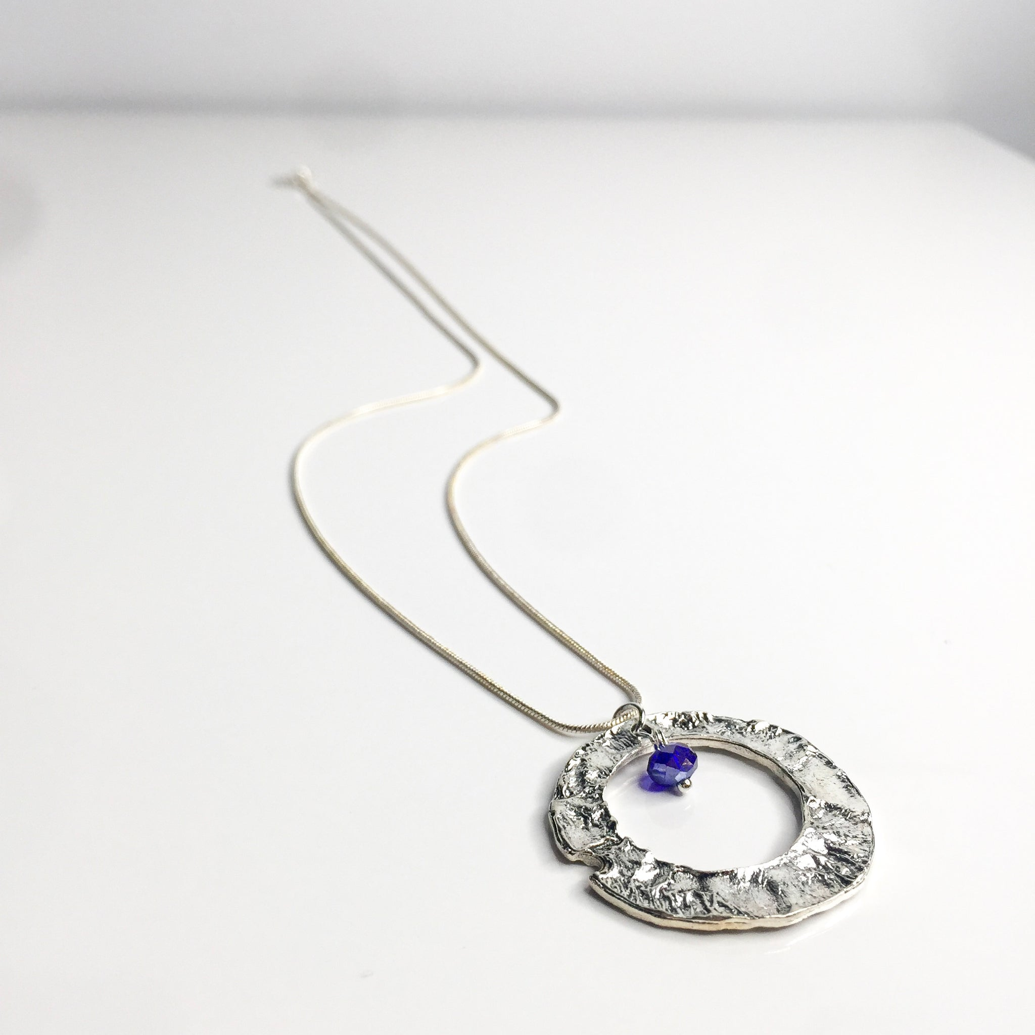 Necklace Gemstones | Large Circle | Silver Sterling