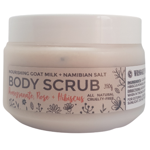 Nambian Sea Salt Body Scrub - Pomegranate & Rose with Hibiscus