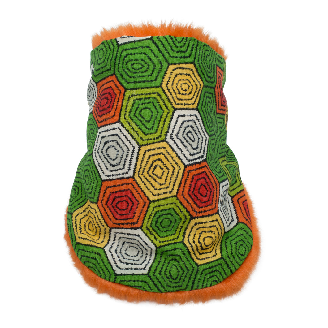 MEIRO orange Neck warmer for children handmade in Japan front view