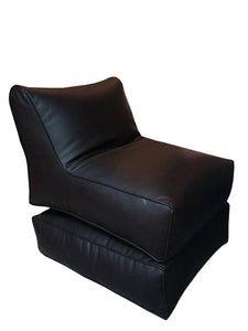 Leather Sofa cum Bed Black-Home Sweet Home Interiors