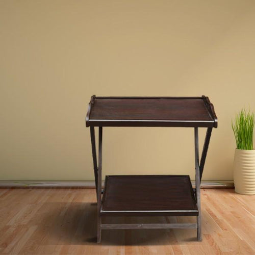 Dark Brown Double Folding Table-Home Sweet Home Interiors