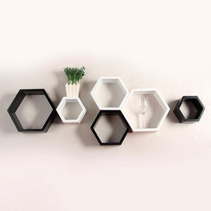 Hexagon Shape Wall Shelf Set of 6- White and black-Home Sweet Home Interiors