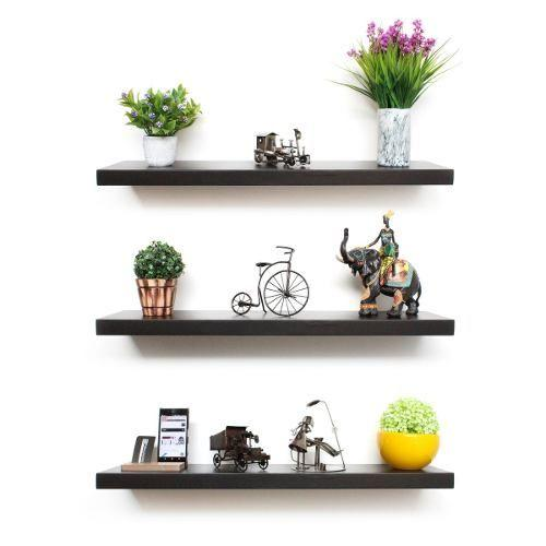 Set of 3 Dark Brown Floating Shelves-Home Sweet Home Interiors