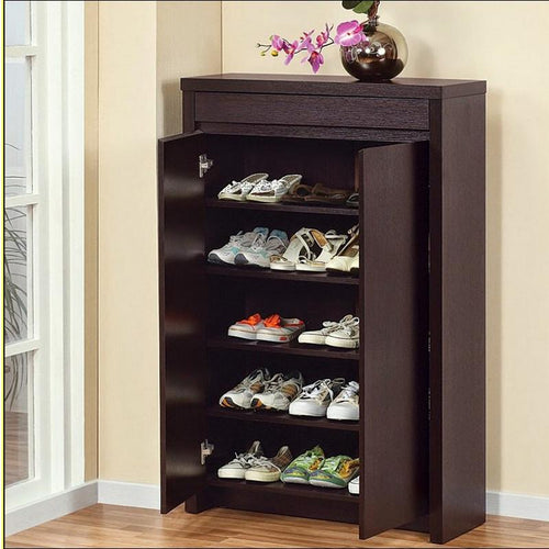 Espresso shoe cabinet with doors-home sweet home interiors