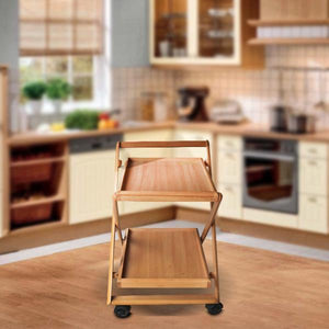 Two Tray folding Tea Wooden Trolley-Home Sweet Home Interiors