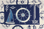 Blue & White Nautical Indoor-Outdoor Area Rug