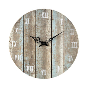 Light Blue Distressed Outdoor Wood Clock 16 in.
