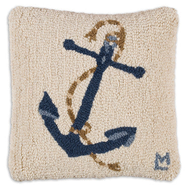 Blue Anchor Hooked Pillow 14 in.