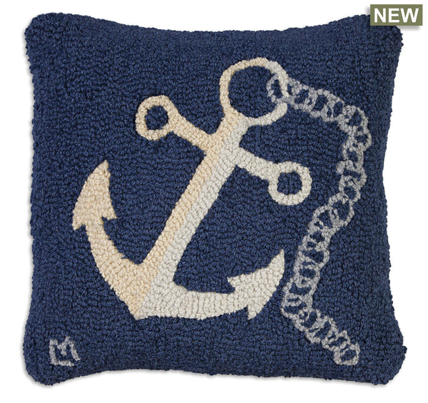 Blue Anchor Hooked Pillow 18 in.