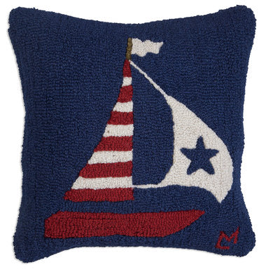 US Flag Boat Hooked Pillow 18 in.