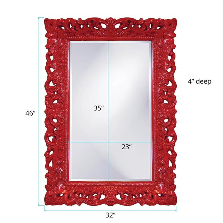 "Barcelona Mirror- Glossy Red 33"" W x 45"" H"