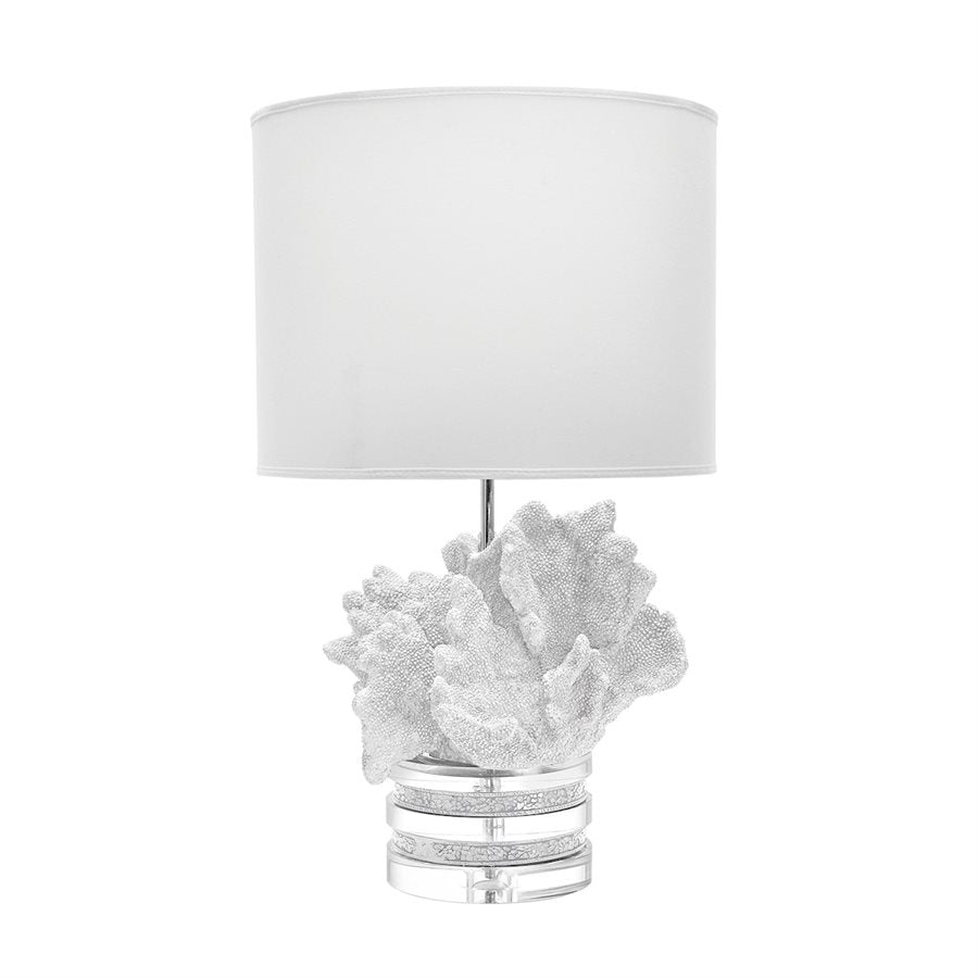 White Coral and Crystal Table Lamp