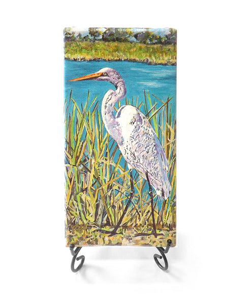 Cris Backyard Egret Mini Giclee by Kim Rody