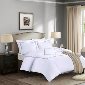 Coastal Luxury Duvet Set with Gray Accents