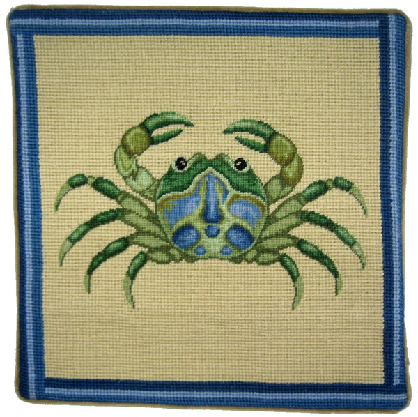 Green Crab Pettipoint Pillow 13 in.