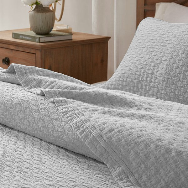 Light Gray Valencia 3 Piece Matelasse Coverlet Set