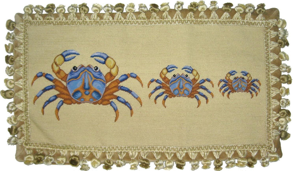 Three Blue Crabs Pettipoint Pillow 12 in. x 22 in.