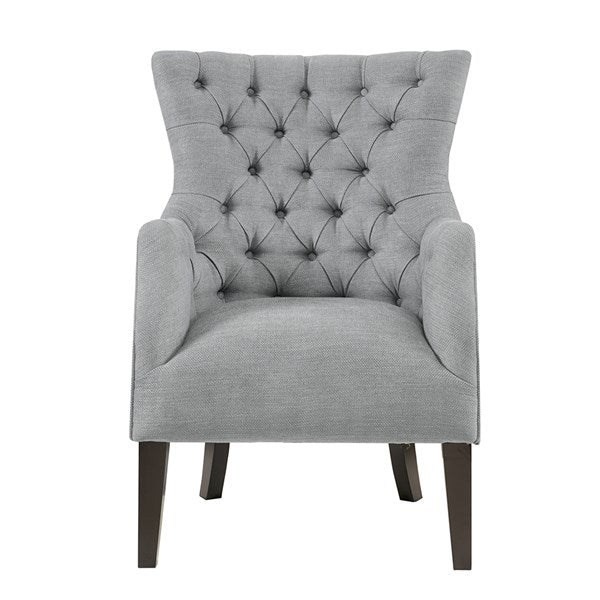 Button Tufted Wing Chair - Grey