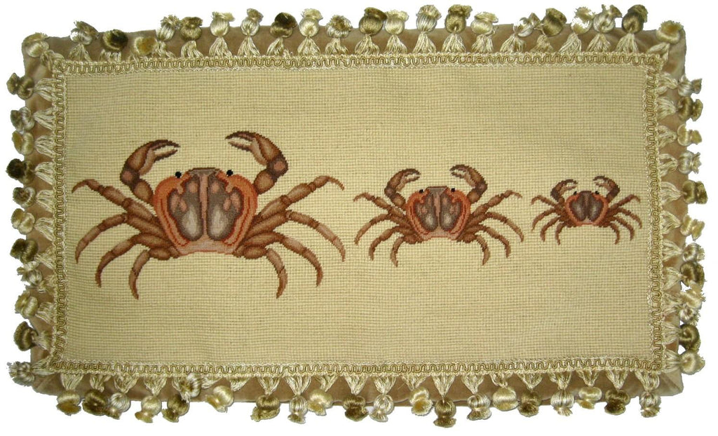 Three Brown Crabs Pettipoint Pillow 12 in. x 22 in.