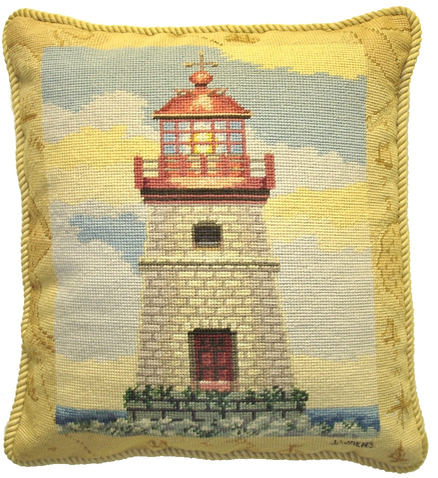 Lighthouse II Grosspoint & Pettipoint Pillow 18 in. x 16 in.