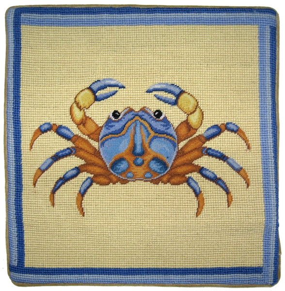 Blue Crab Pettipoint Pillow 13 in.