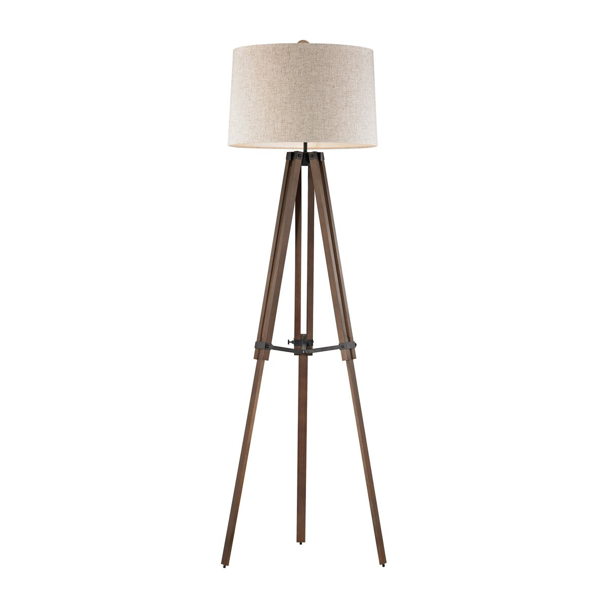 Wooden Brace Tripod Floor Lamp