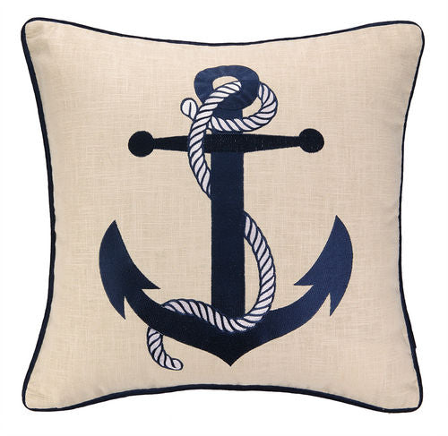 Blue Anchor Embroidered Pillow 20""