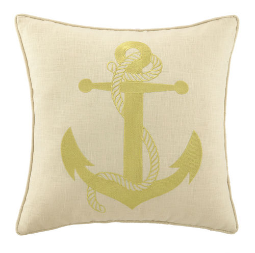 Gold Anchor Embroidered Pillow 20""