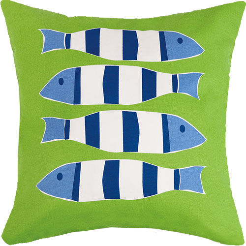 Green Four Fish Outdoor Pillow  20 in.