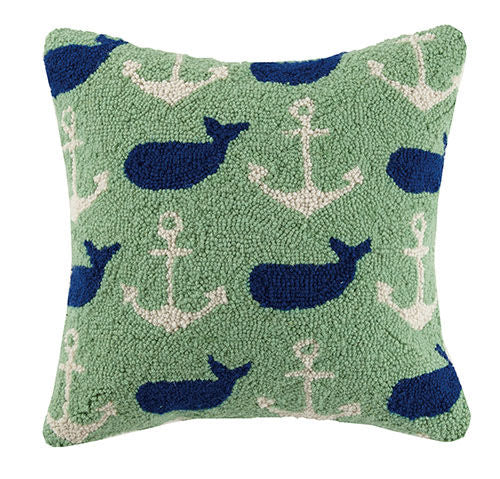 Whale & Anchor Hooked Pillow 16 in.