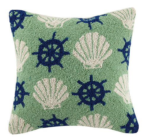 Shell & Wheel Hooked Pillow 16 in.