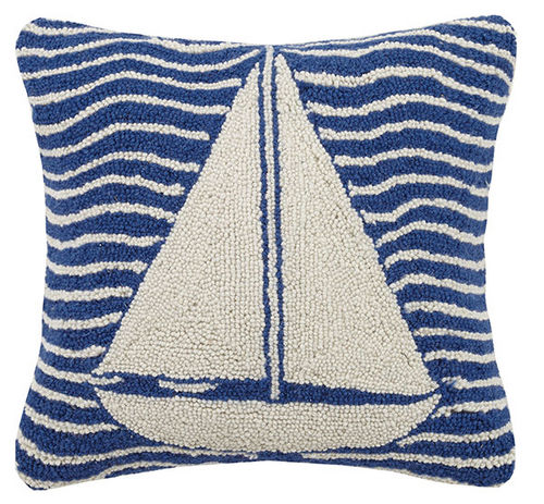 Multi Wave Sailboat Hooked Pillow 16 in.