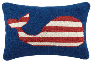 Striped Whale Hooked Pillow 12 in. x 18 in.