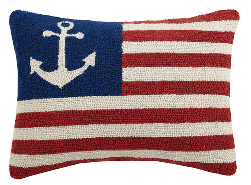 Anchor American Flag Hooked Pillow 14 in. x 18 in.