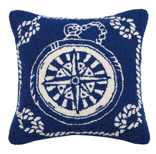 Compass Nautical Hooked Pillow 18 in.