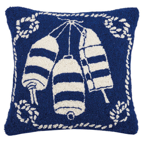 Buoys Nautical Hooked Pillow 18 in.