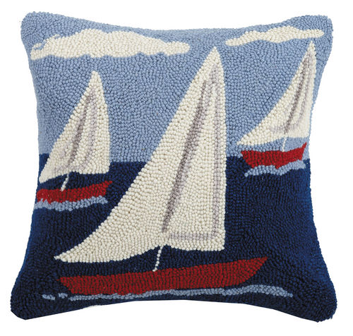 Sail Boat Trio Hooked Pillow 16 in.