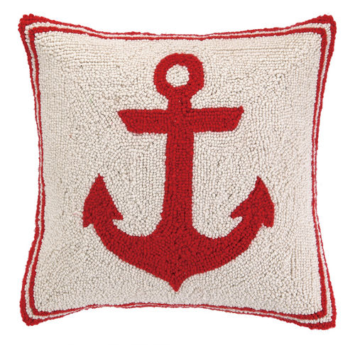 Red Anchor Hooked Pillow 16 in.