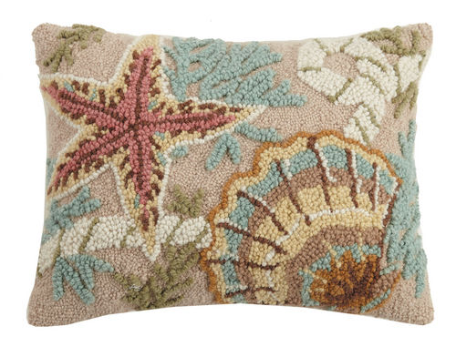 Starfish and Shell Hooked Pillow 14 in. x 18 in.