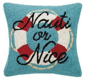 Nauti or Nice Hooked Pillow 16 in.