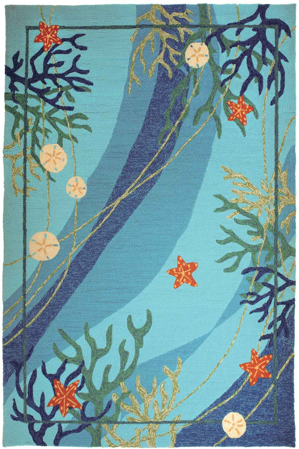Underwater Coral & Starfish Indoor-Outdoor Area Rug