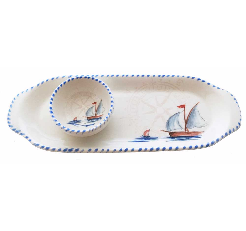 Sailboat Oval Plate and Mini Bowl