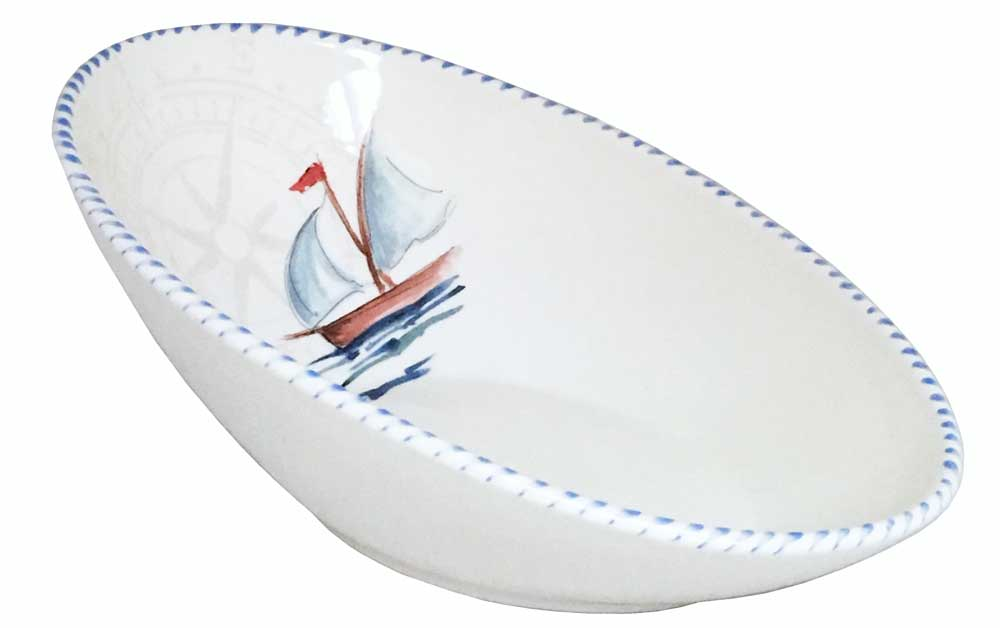 Sailboat Large Oval Bowl