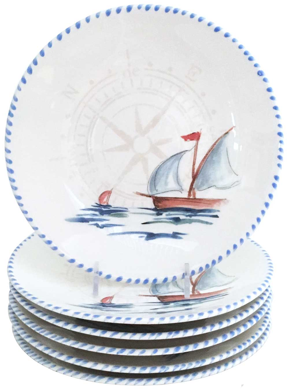 Sailboat 10 Inch Dinner Plates (Set of 6)