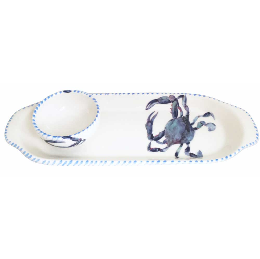 Blue Crab Oval Plate and Mini Bowl