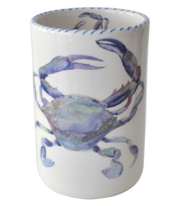 Blue Crab Wine Bottle Holder / Utensil Holder / Vase