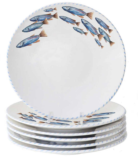 Lake Fish 10 Inch Dinner Plates (Set of 6)