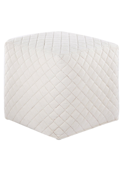 Dove Wool Blend Quilted Pouf