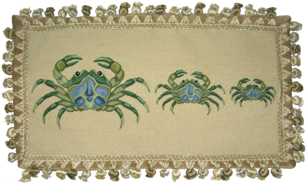 Three Green Crabs Pettipoint Pillow 12 in. x 22 in.