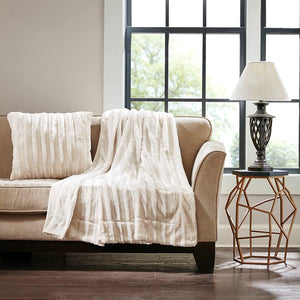 Ivory  Pillow 20 In. and Throw 50 in. x 60 in.
